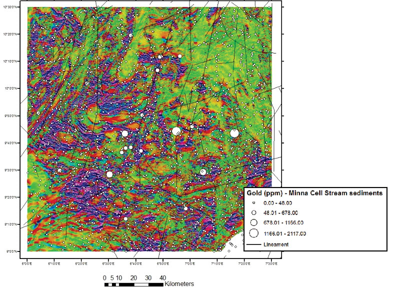 Nigeria - Gold Project - airborne and geochemical map