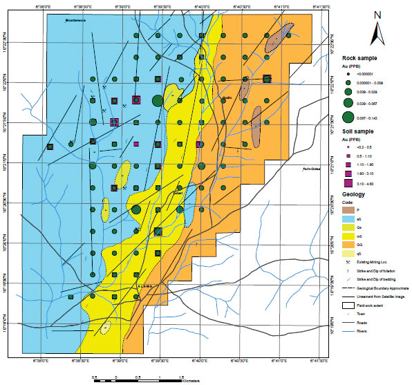 Nigeria - Gold Project - geochemical map